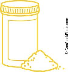 embalagem, medicinas, vetorial, esboço