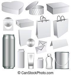embalagem, modelos, em branco