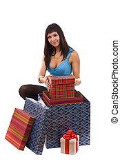 embalagem, mulher