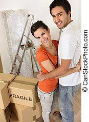 embalagem, par, frágil, caixas, marcado