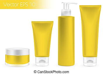 embalagem, recipientes, amarela, color.