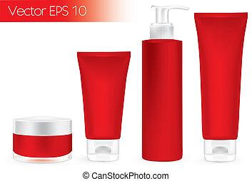 embalagem, recipientes, vermelho, color.