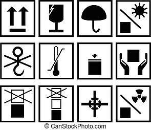 embalagem, símbolo, vetorial