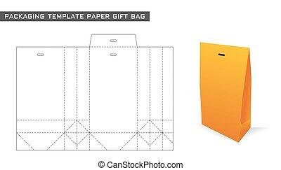 embalagem, saco, papel, modelo, presente