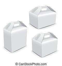embalagem, sacolas, papel, punho, em branco