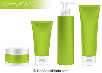 embalagem, verde, recipientes, color.