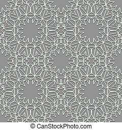 embaldosado, lineal, geométrico, color, telón de fondo., paleta, blanco, seamless, motiff., patrón, musulmán, gris, ornamento, persa