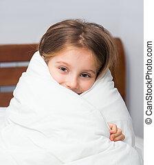 emballé, couverture, girl, lit, séance