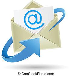 emballé, email, flèche