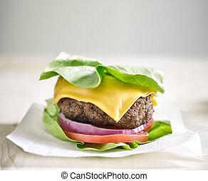 emballé, hamburger, protéine, salade verte