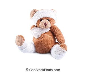emballé, malade, pansements, ours, teddy