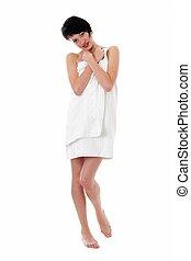 emballé, pelucheux, femme, serviette