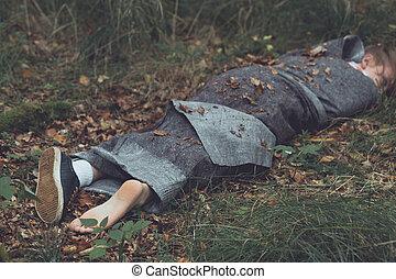 emballé, victime, corps, feuilles, meurtre