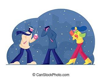 emballage, chaud, marche, vêtements, saison, neige, femme, froid, porter, hiver, cityscape, vecteur, chaud, dessin animé, vent, rue, jacket., illustration, plat, temps, gens, boisson, fond, homme