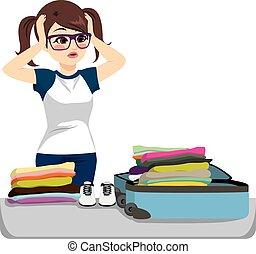 emballage, désespéré, valise