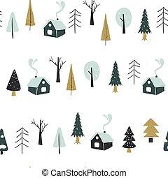 emballage, dessiné, texture., textile, modèle, utilisé, seamless, paper., forest., fabric., maisons, imprimé, papier peint, papier, boîte, illustration., enfants, main, être, noël, vecteur