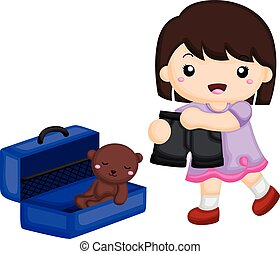 emballage, flicka, eps8, favorit, resväska, henne, ting