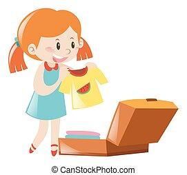 emballage, liten flicka, resväska