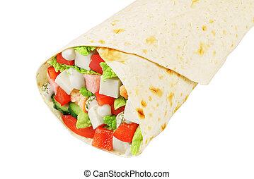emballer, grec, sandwich, isolé
