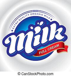 emballering, design, mjölk, (vector)