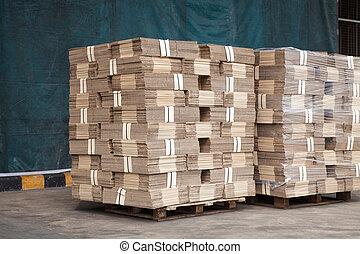emballering, rutor, stack