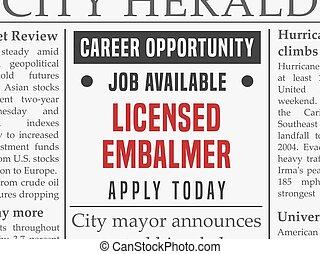 Embalmer career