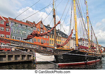 Embankment Copenhagen. Tourist place of the old city. Denmark.