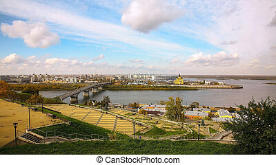 Embankment in autumn Nizhny Novgorod overlooking the confluence of the Oka and Volga rivers