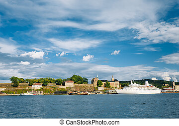 Embankment In City Center in Oslo, district Aker Brygge, Norway
