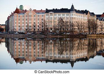Embankment in Helsinki autumn. Finland.