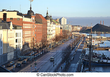 Embankment in Helsinki in the early autumn morning, Finland