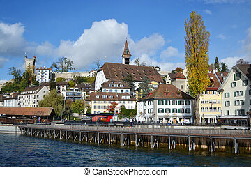 Embankment in Lucerne, Switzerland. - View of embankment in...