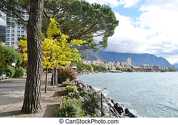 Photo of embankment in Montreux, Switzerland.