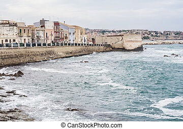 Embankment in Syracuse, Sicily. Italy