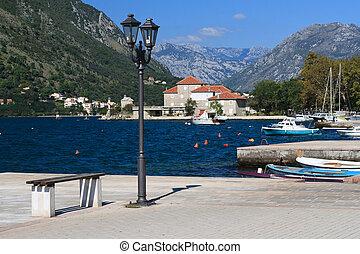 embankment in the Bay of Kotor in Montenegro
