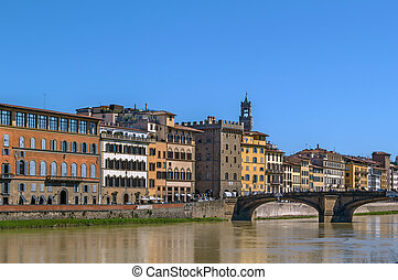 Embankment of Arno river, Florence, Italy