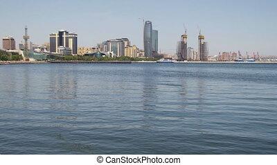 Embankment of Baku, Azerbaijan. The Caspian Sea and Skyscrapers