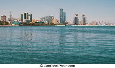 Embankment of Baku, Azerbaijan. The Caspian Sea and...