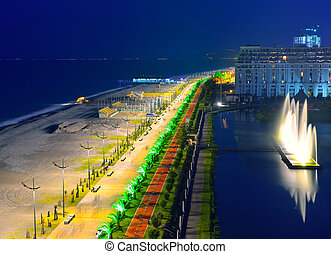Embankment of Batumi at night
