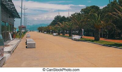 Embankment of Batumi, Georgia. Bike path and palm trees near...