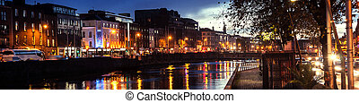 Embankment of Liffey River in Dublin, Ireland. Night view