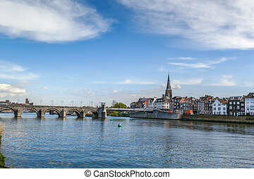 Embankment of Meuse river, Maastricht, Netherlands - View of...