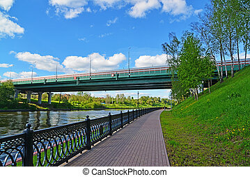 Embankment of Moscow Canal in Khimki, Russia - Embankment of...