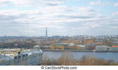 Embankment of Neva river in Sankt-Petersburg, Russia.