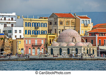 Embankment of old harbour in Chania, Crete, Greece