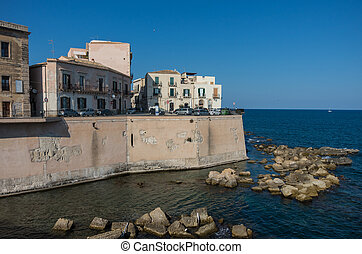 Embankment of Ortygia island, Syracuse city, in Sicily.