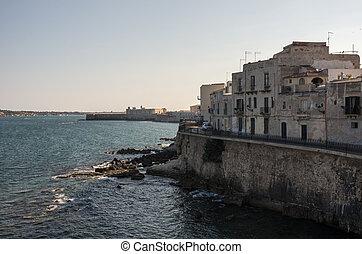 Embankment of Ortygia island, Syracuse city, in Sicily.