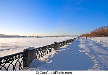 embankment of river in winter