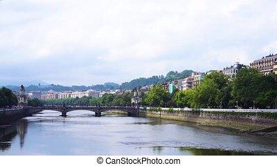 San Sebastian, Pais Vasco, Spain - embankment of river...