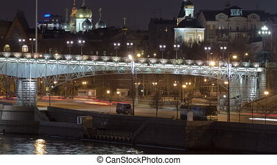 Embankment of the Moscow river. The Patriarchal Bridge night timelapse